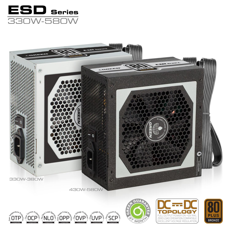 ESD Series DC to DC Power Supply - منبع تغذیه کامپیوتر گرین مدل GP330A-ESD