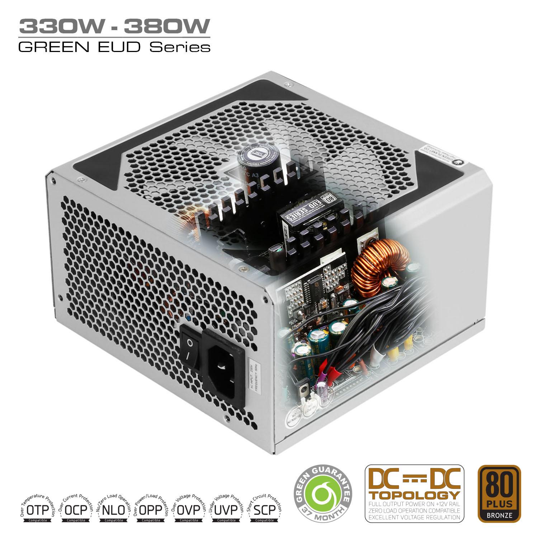 Silver DC to DC Power Supply Inside - منبع تغذیه کامپیوتر گرین مدل GP380A-EUD
